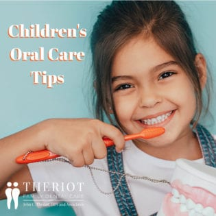 """Little Girl Brushing Teeth with text that says """"Children's oral care"""""""