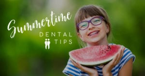 Summertime Tips for Healthy Teeth Girl with Braces and Watermelon