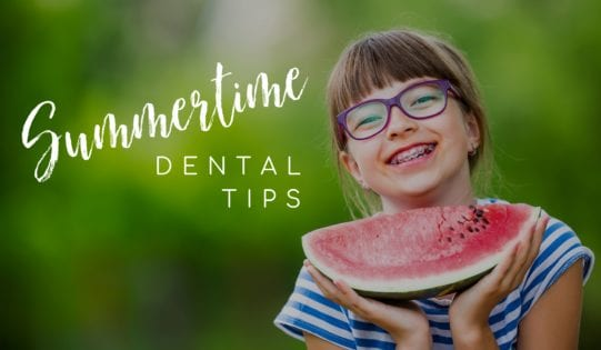 Summertime Dental Tips Girl with Braces and Watermelon